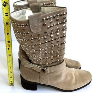 STUART WEITZMAN Silver Studded Suede Boots Sz 9.5